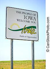 usted, bienvenida, iowa, señal, gente