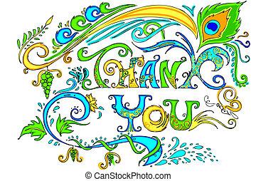 usted, colorido, agradecer, tarjeta