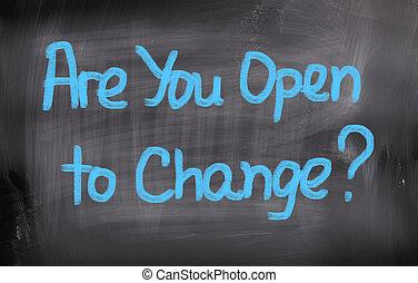 usted, concepto, abierto, cambio