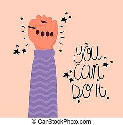 usted, empowerment, mano, vector, puño, diseño, lata, ...