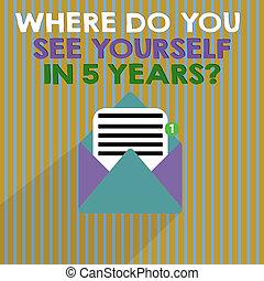usted mismo, concepto, palabra, blanco, carrera del negocio, texto, question., escritura, ver, ajuste, 5, usted, años, dónde, meta