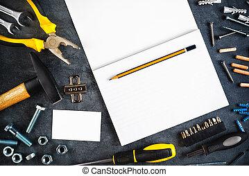 usted mismo, herramientas, él, cuaderno, variado
