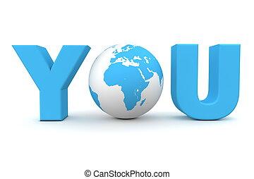 usted, mundo, azul