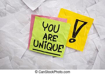 usted, ser, único, recordatorio