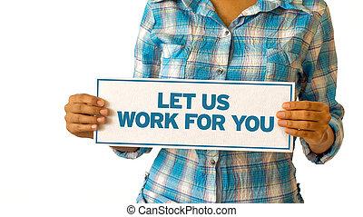 usted, trabajo, dejar, nosotros