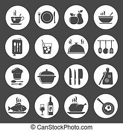 ustensile, cuisine, icônes