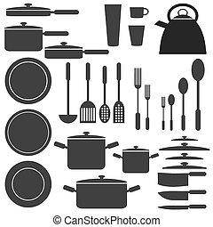 ustensiles, blanc, colours., noir, cuisine