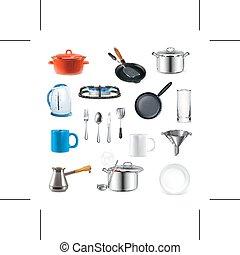 ustensiles, cuisine, icônes