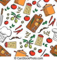 ustensiles, cuisine, seamless, fond, cuisine