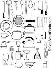 ustensiles, ensemble, cuisine