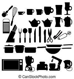 ustensiles, silhouettes, cuisine