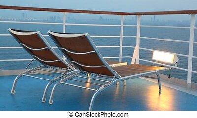 ustrojenie krzesła, ruchomy, rejs, para, statek