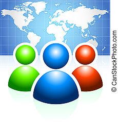 usuário, grupo, com, mapa mundial, fundo