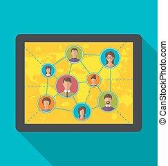 usuários, tabuleta, computador, social, amizade, rede