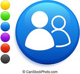 usuario, grupo, icono, en, redondo, internet, botón
