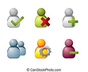 usuario, iconos, para, tela