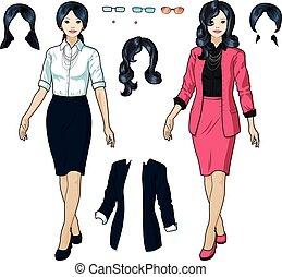 usure, femme affaires, formel, élégant, asiatique