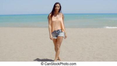 usure, plage, été, femme, joli, désinvolte