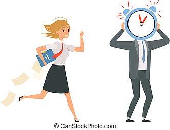 usure, tard, date limite, girl, bureau, vecteur, work., personnel, directeurs, papiers, uniforme, characters., illustration