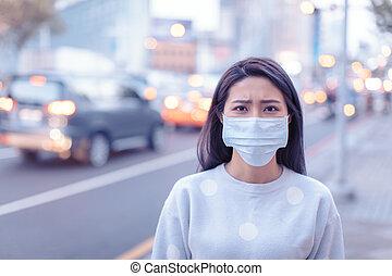 usure, ville, pendant, femme, jour, smog, masque, jeune