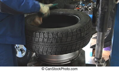 usuwa, wóz, closeup, mechanik, zmęczyć