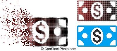 uszkodzony, banknot, dolar, halftone, pixel, ikona