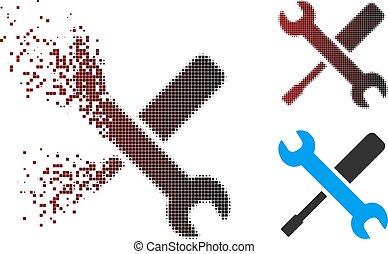 uszkodzony, halftone, narzędzia, pixel, ikona
