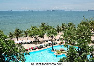uszoda, tengerpart, közül, a, népszerű, hotel, pattaya, thaiföld
