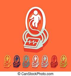 utérus, plat, design:, artificiel
