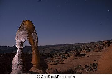 utah, arco, moab, noche, delicado