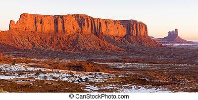 utah-arizona, estados unidos de américa, parque nacional, mesa, monumento, centinela, valle
