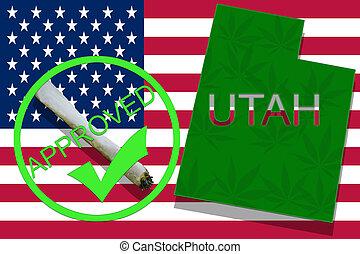 utah, auf, cannabis, hintergrund., droge, policy., legalization, von, marihuana, auf, usa markierung