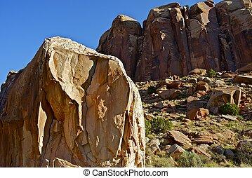 Utah Boulders of Canyonlands. Moab, Utah, USA. Sandstone...