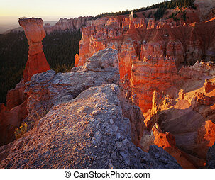 utah, bryce canyon, torens, nationale, zonopkomst, park