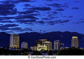 Utah capital city at night - Salt lake city in early morning...