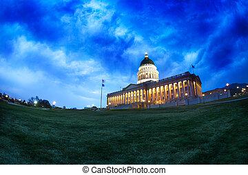Utah Capitol building at night in Salt Lake City
