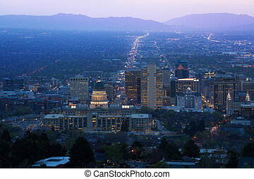 Utah Capitol view during night in Salt Lake City
