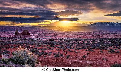 utah, desierto, salida del sol