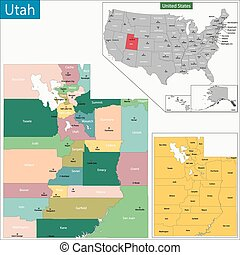 Utah map - Map of Utah state designed in illustration with...