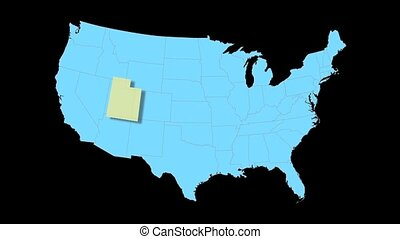 Utah Map Zooms Out of USA - Utah animated map video, starts...
