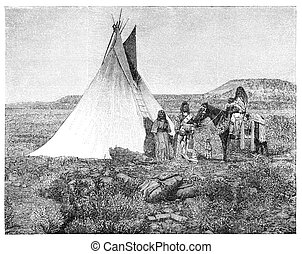 """Native americans from Utah region. Illustration originally published in Hesse-Wartegg's """"Nord Amerika"""", swedish edition published in 1880. The image is currently in Public domain by virtue of age."""