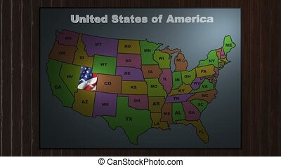 Utah pull out from USA states abbreviations map - State Utah...