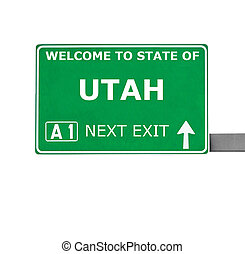 UTAH road sign isolated on white