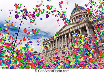 Utah Salt Lake city capital with air balloons fly