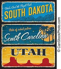 Utah, South Dakota and Carolina state shabby plate