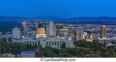 Utah State Capital Building view at twilight