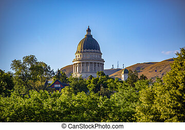 Utah State Capital Building with foliage