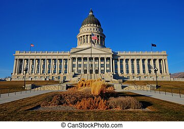Utah State Capital Building on a beautiful winter's day at sunset.