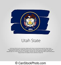Utah State Flag with colored hand drawn lines in Vector Format