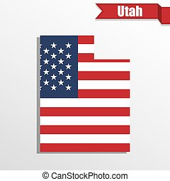 Utah State map with US flag inside and ribbon
